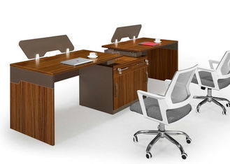Knock Down Packed Office Workstation Desk For 2 Person / MFC Modern Office Furniture