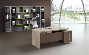Melamine Panel Wooden Style Executive Desk With Side Cabinet 5 Years Warranty