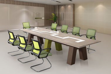 China Large Size Modular Conference Room Tables Panel Wood Style Melamine Finishing supplier