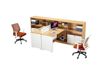 Wooden Office Workstation Desk Chipboard Melamine Finishing For 2 - 6 Person