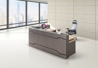 Wood Material Reception Counter Desk Grey Color Surface Modern Design