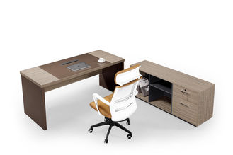 BV Assured Ergonomic Office Furniture , Wood Executive Desk With Side Cabinet