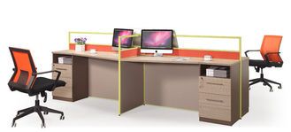 Four Seats Office Partition Workstation MFC Melamine And Power Coating Fisnihing