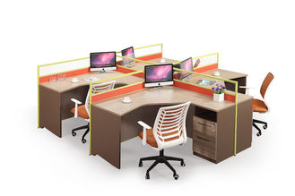 4 Person PC Office Partition Workstation OEM / ODM With Partition Screen