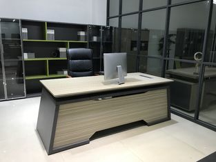 Knock Down Executive Office Desk Smooth Edge Designed SGS Certificated