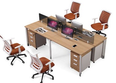 4 Person Office Partition Workstation Project / OEM Accepted Staff Furniture