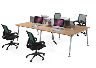 Modular Modern Office Workstations 4 Seater Design With Stainless Steel Metal Frame