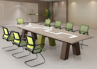 3.8m Length Wooden Meeting Table Grey Bamboo Color For 10 - 14 Person