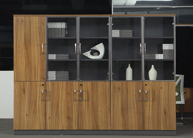 Wooden Office Storage Cabinets , Lockable Filing Cabinets With Tempered Glass Door