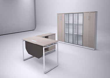 Contemporary Office Manager Desk OEM / ODM With Fixed Extension Cabinet