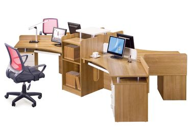 4 Seat Cluster Office Workstation Desk 0.56CBM / Set Modern Appreance
