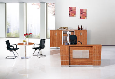 Fashion Simple Office Reception Counter Desk Golden Teak Color
