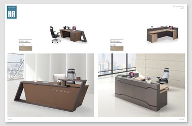 Melamine Surface Handle Reception Counter Table / Information Desk