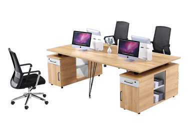 4 Person Modular Workstation Desk Furniture With Metal Legs / Computer Workstation Desk