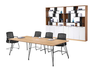 240cm Melamine Conference Table ,  Office Meeting Table With Six Metal Legs