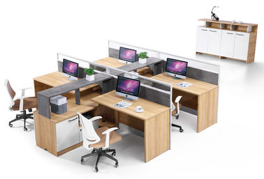 280cm MFC Office Computer Desk American Walnut Color / Four Staff Workstation Desk