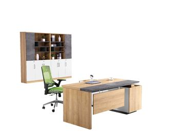 Fashionable Office Executive Desk With Filing Cabinet Customized Size