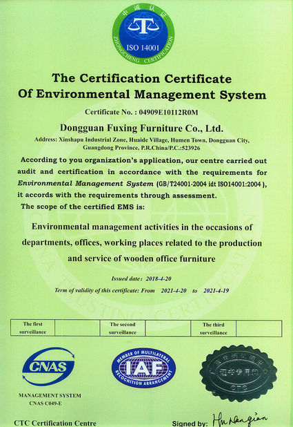 China Dongguan Fuxing Furniture Co., Ltd. Certification